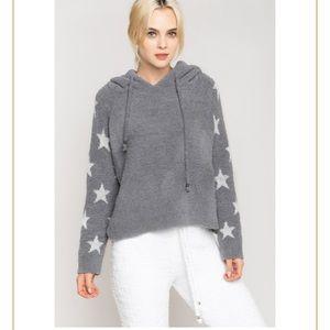 tammys beachwear Tops - Softest Sherpa Gray Star Hooded Sweatshirt